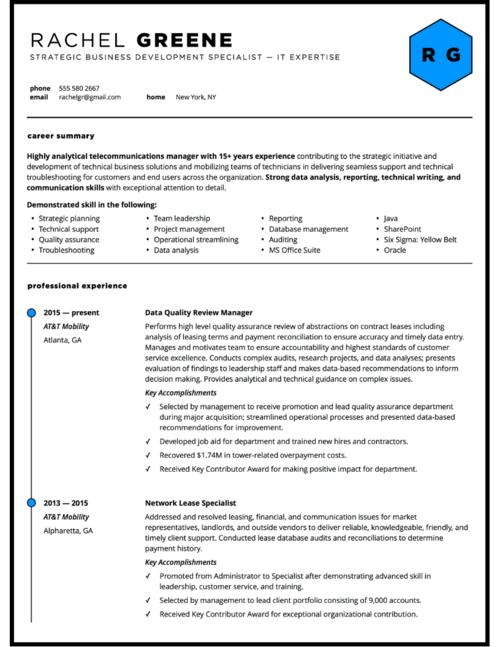 business manager custom resume design - Professional Resume Design