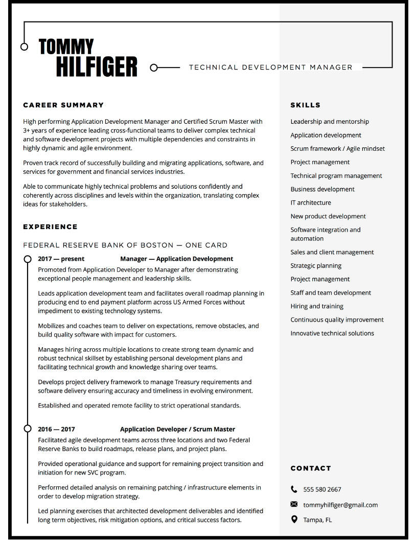Resume design for tech leader