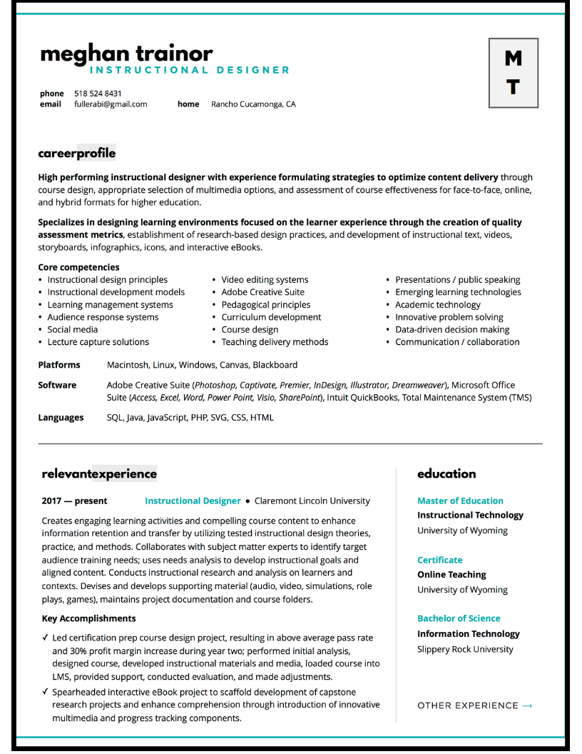 Resume design sample for instructional designer