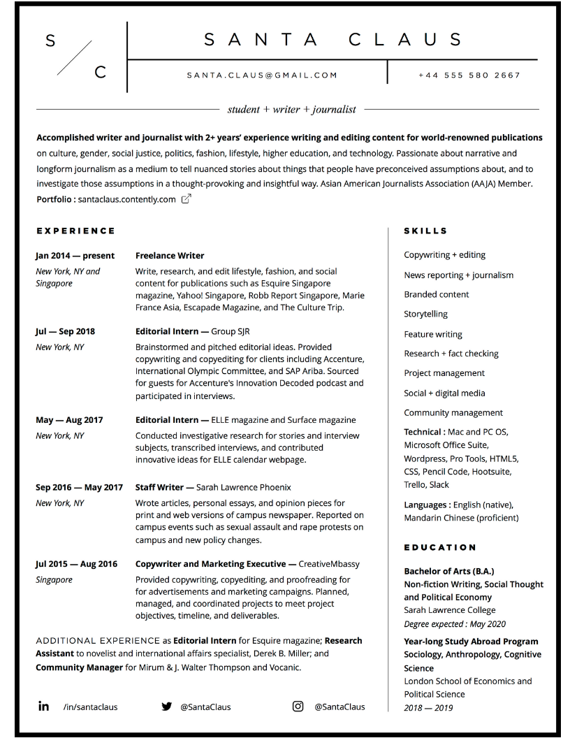 Writer and journalist resume sample