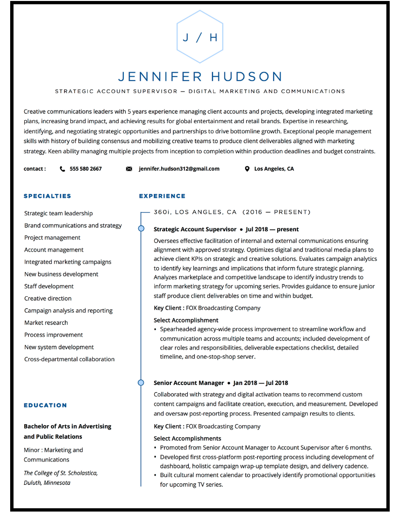 Account manager marketing resume