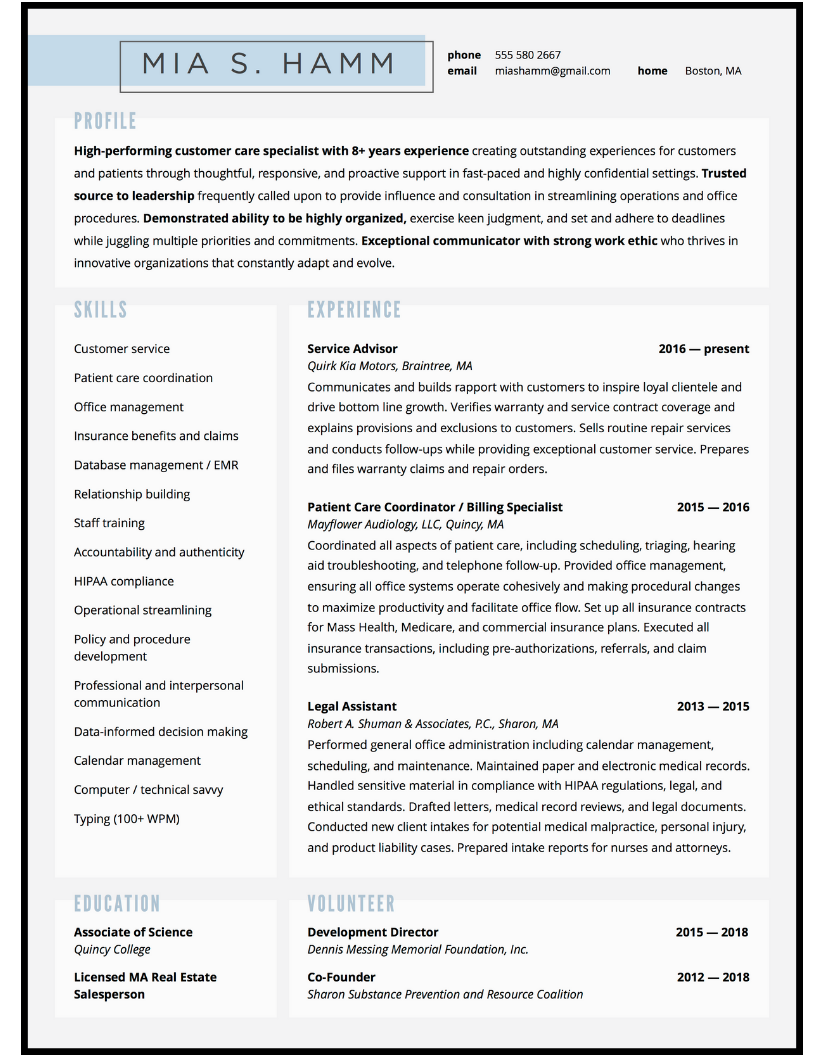 Resume design for office administrator