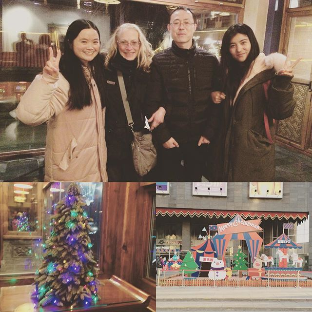 Christmas comes to Beijing. At a hip restaurant with my translator, social media CEO, and video coordinator. #christmasinbeijing #yogateacherinchina