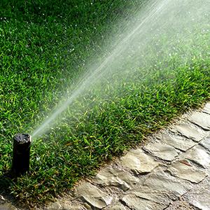 sprinkler system watering yard