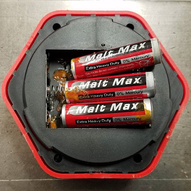 I thought the name malt max on these batteries was weird until they showed me what they were made of... The proof is in the pudding. #battery  #fail #weird #goo