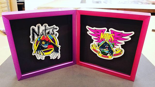 "Framed some Natas Kaupas stickers in neon metal. Float and lift in metal frames=doing the ""impossible"". #santamonicaairlines #natas #pictureframe #customframing #stickers #oldschool #skateboarding"