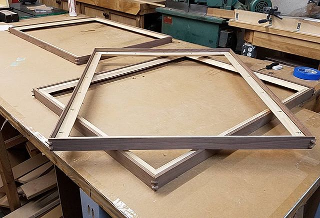 Work in progress. Walnut frames and strainers. #pictureframing #woodworking #walnut #customframing #process