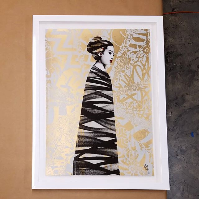 @hushartist floating with white lacquer frame. #hush #art #print #picture #framing #losangeles #streetart
