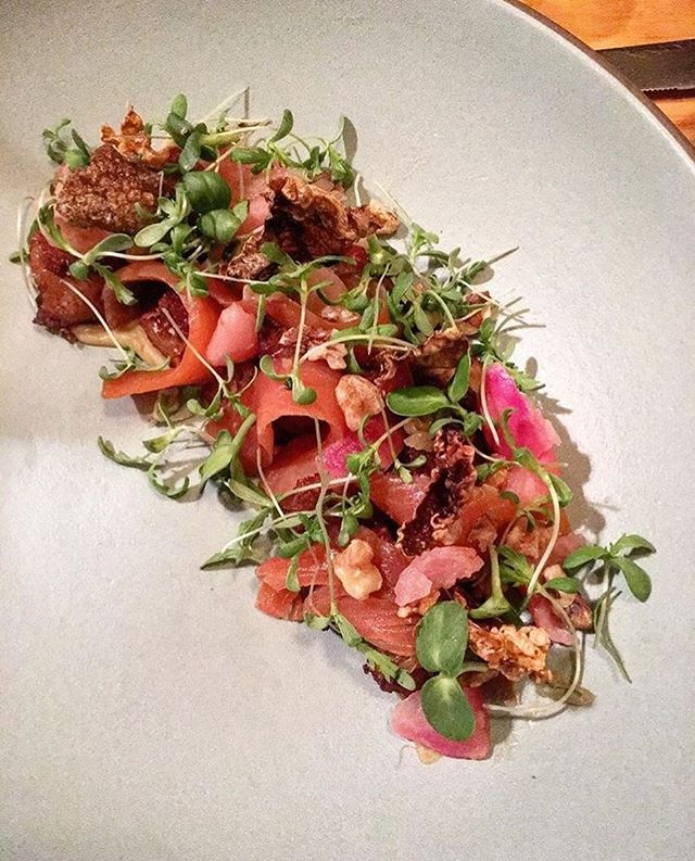 Lightly cured trout, crispy potatoes, bashed turnips, miso bagna cauda. 📸 by @elenicoco #alsplacesf #regram #familystyle