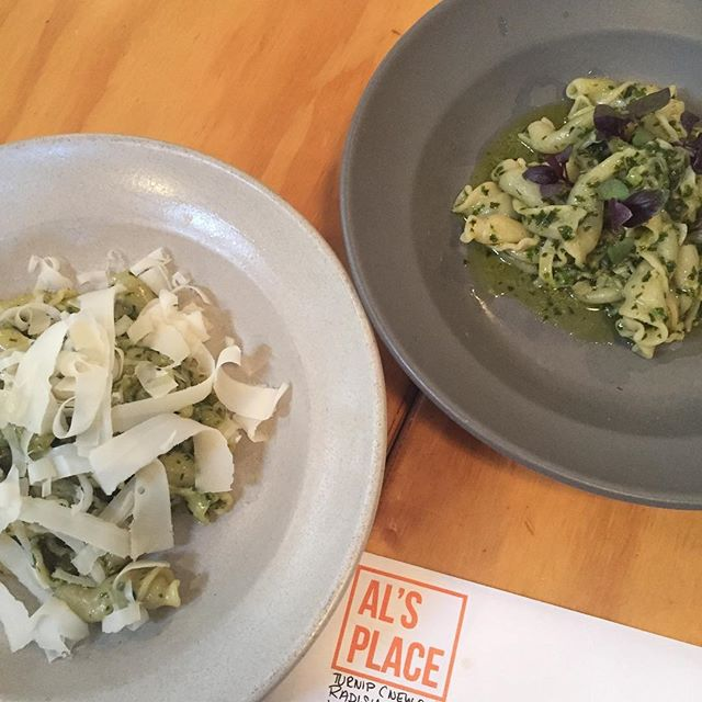 Campanelle with turnip top pesto: regular version (left) and vegan (right). Both equally delicious! #alsplacesf
