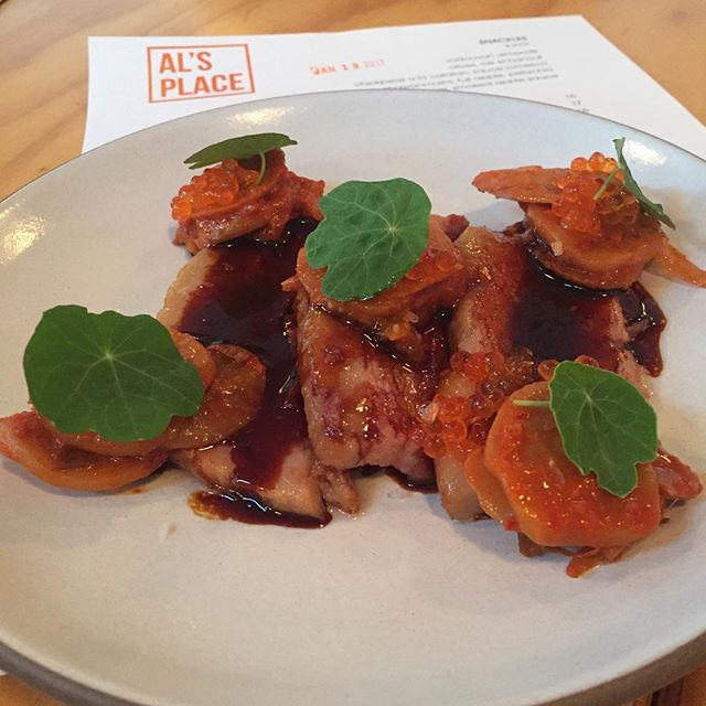 A staff favorite: pork belly, galangal soda, turnip-chi roe. #alsplacesf