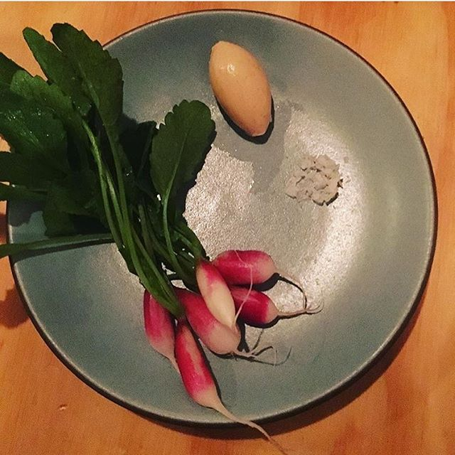 Still live. Blue Dane radishes, quince skin kraut butter, sea salt. 📸 by @jesscl829 #alsplacesf #regram #snackles