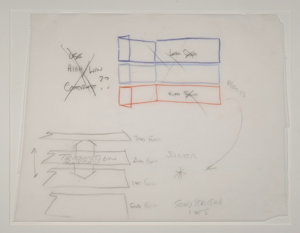 Max Neuhaus,  Sound Structure, Three to One , 1991, Colored pencil on paper (5 sheets), 14 5/8 x 19 1/4 inches, MNE9105 (1 of 5)  Lawrence Markey Inc.