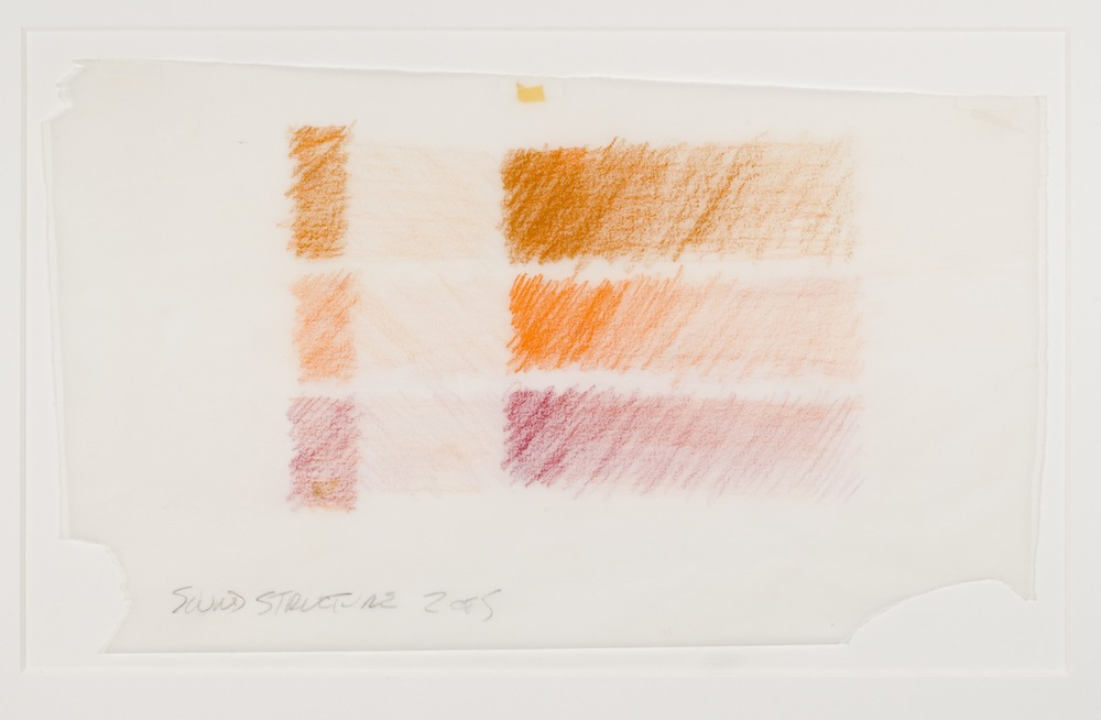 Max Neuhaus,  Sound Structure, Three to One , 1991, Colored pencil on paper (5 sheets), 7 3/8 x 12 1/2 inches, MNE9105 (2 of 5)  Lawrence Markey Inc.