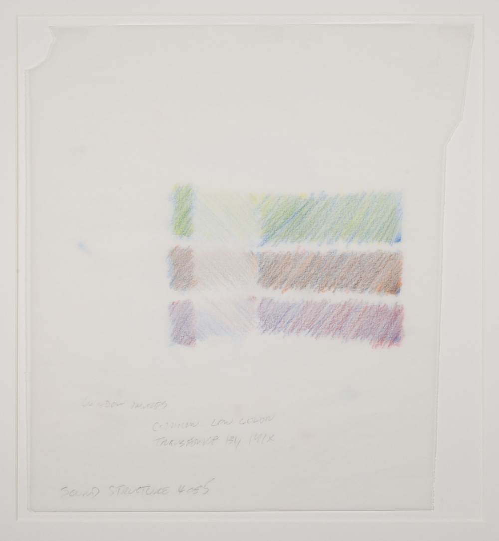 Max Neuhaus,  Sound Structure, Three to One , 1991, Colored pencil on paper (5 sheets), 14 7/8 x 13 5/8 inches, MNE9105 (4 of 5)  Lawrence Markey Inc.