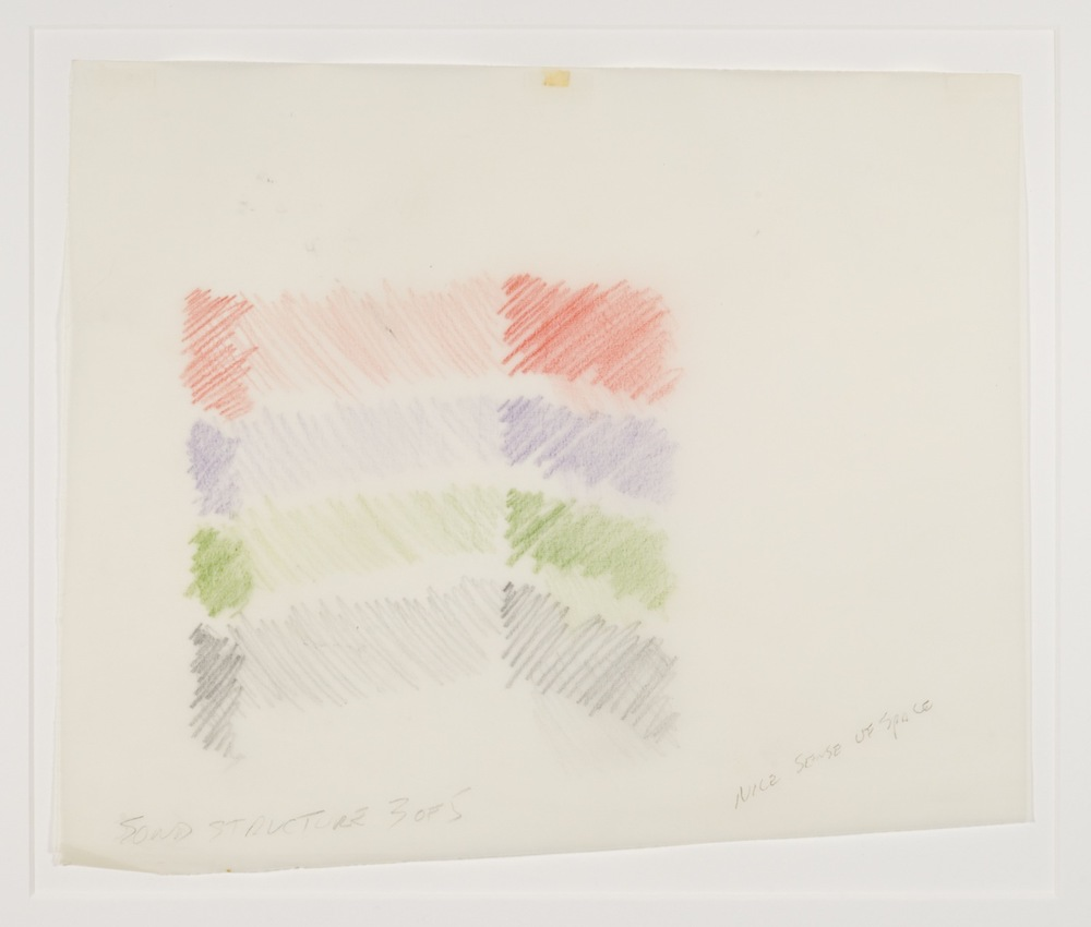 Max Neuhaus,  Sound Structure, Three to One , 1991, Colored pencil on paper (5 sheets), 9 5/8 x 11 1/2 inches, MNE9105 (3 of 5)  Lawrence Markey Inc.