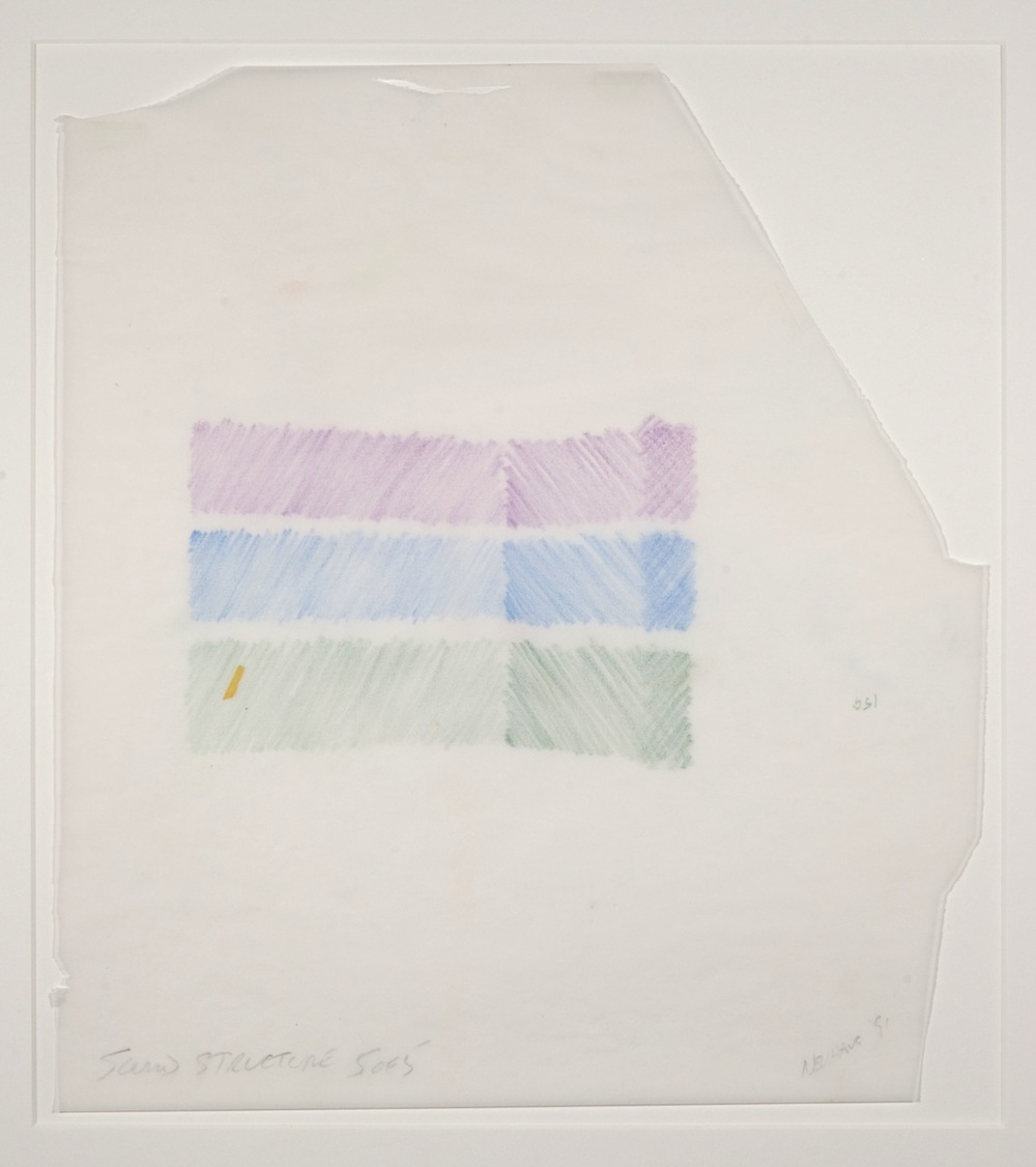 Max Neuhaus,  Sound Structure, Three to One , 1991, Colored pencil on paper (5 sheets), 14 3/4 x 13 1/4 inches, MNE9105 (5 of 5)  Lawrence Markey Inc.