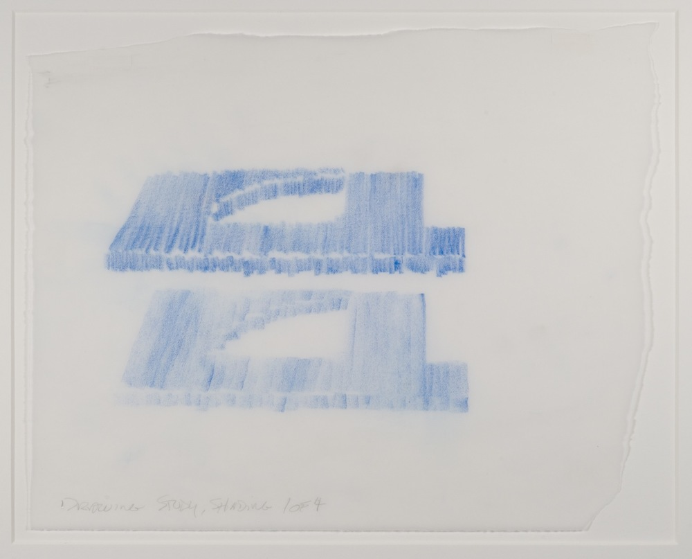 Max Neuhaus,  Drawing Study, Shading, Spatial Interlock, Three to One , 1992, Colored pencil on paper (4 sheets), 9 3/8 x 11 3/4 inches, MNE9208 (1 of 4)  Lawrence Markey Inc.