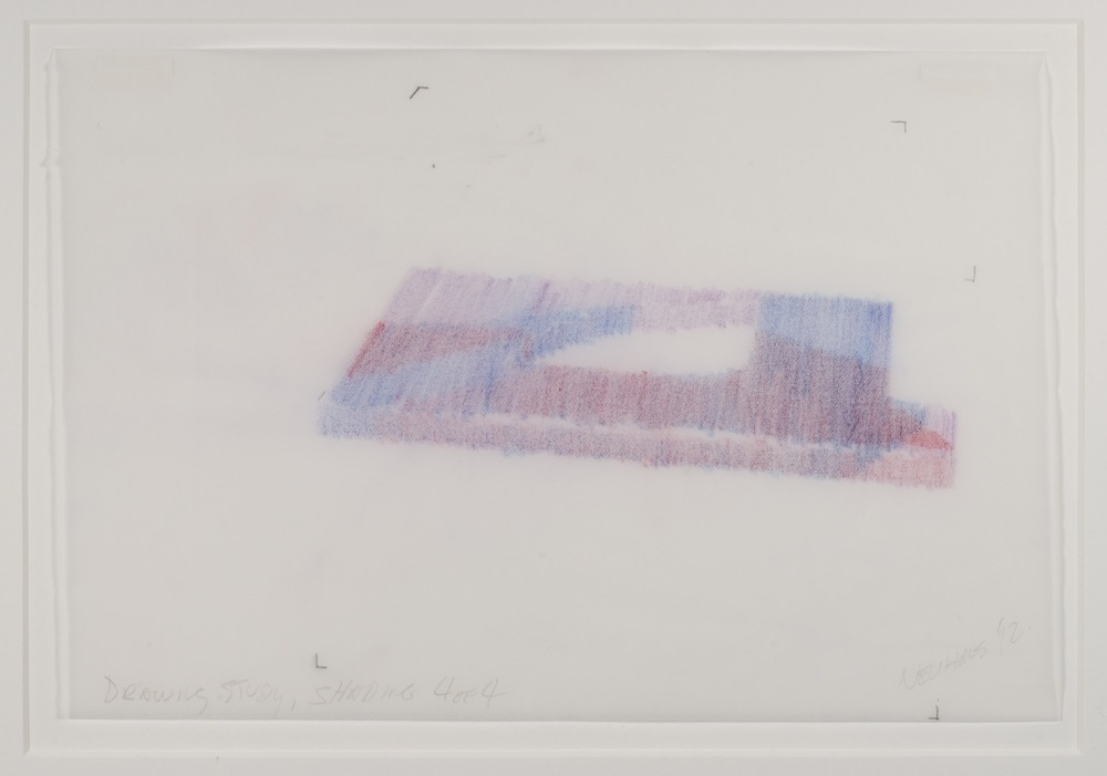 Max Neuhaus,  Drawing Study, Shading, Spatial Interlock, Three to One , 1992, Colored pencil on paper (4 sheets), 7 1/8 x 10 5/8 inches, MNE9208 (4 of 4)  Lawrence Markey Inc.