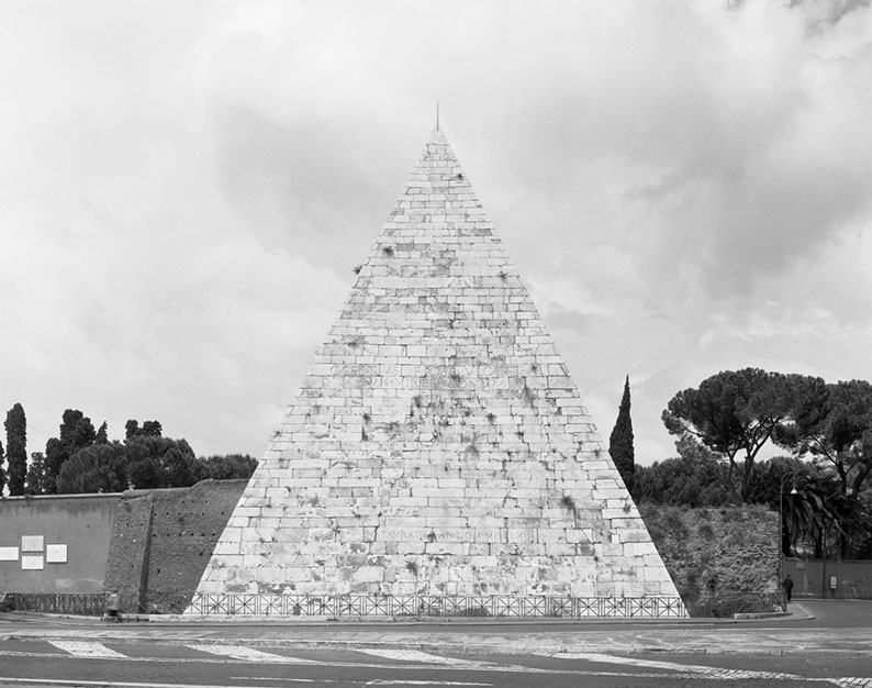 John Riddy,  Rome (Pyramid), 1999 , Silver gelatin print, 15 x 18 7/8 inches, JRI9916  3/8  Lawrence Markey Inc.
