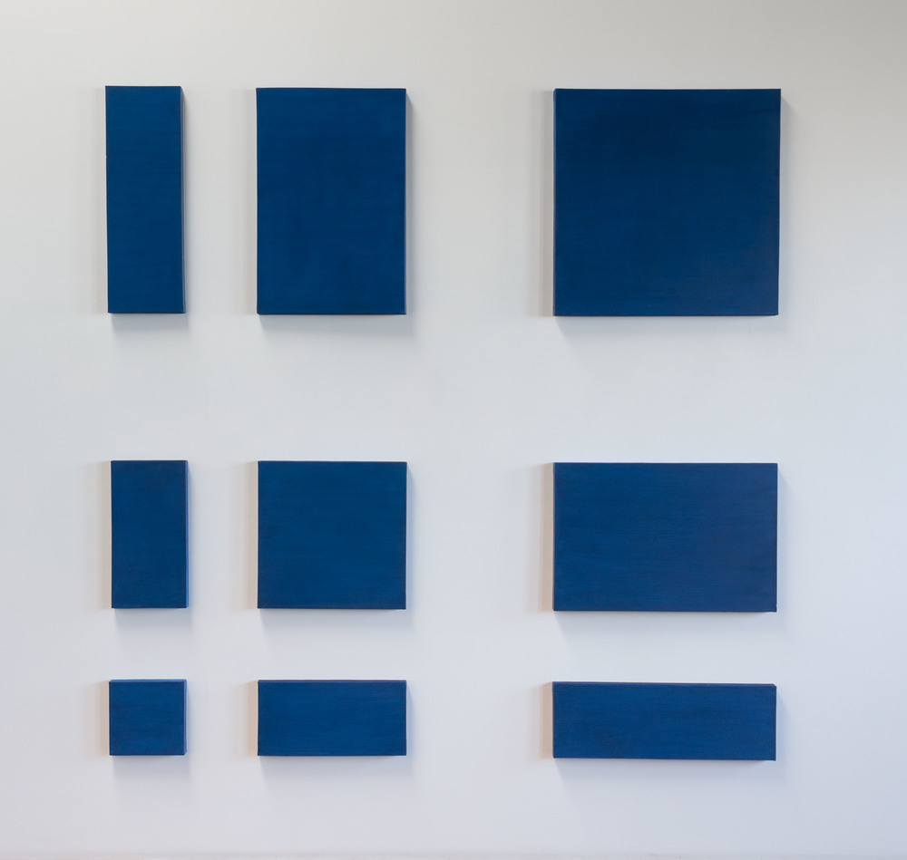 Paul Mogensen, no title (9 part cobalt blue), 1968-71, Oil on canvas, 90 x 90 inches, PMO6802  1/4  Lawrence Markey Inc.