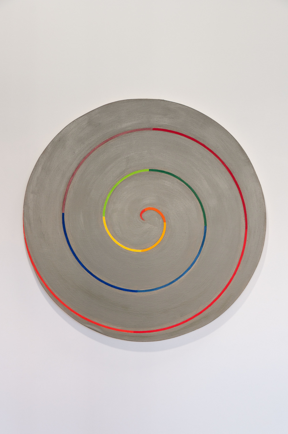 Paul Mogensen, no title (scarlet to scarlet on davy's gray), ca. 1975, Oil on canvas, 48 inches diameter, PMO7502   2/4  Lawrence Markey Inc.