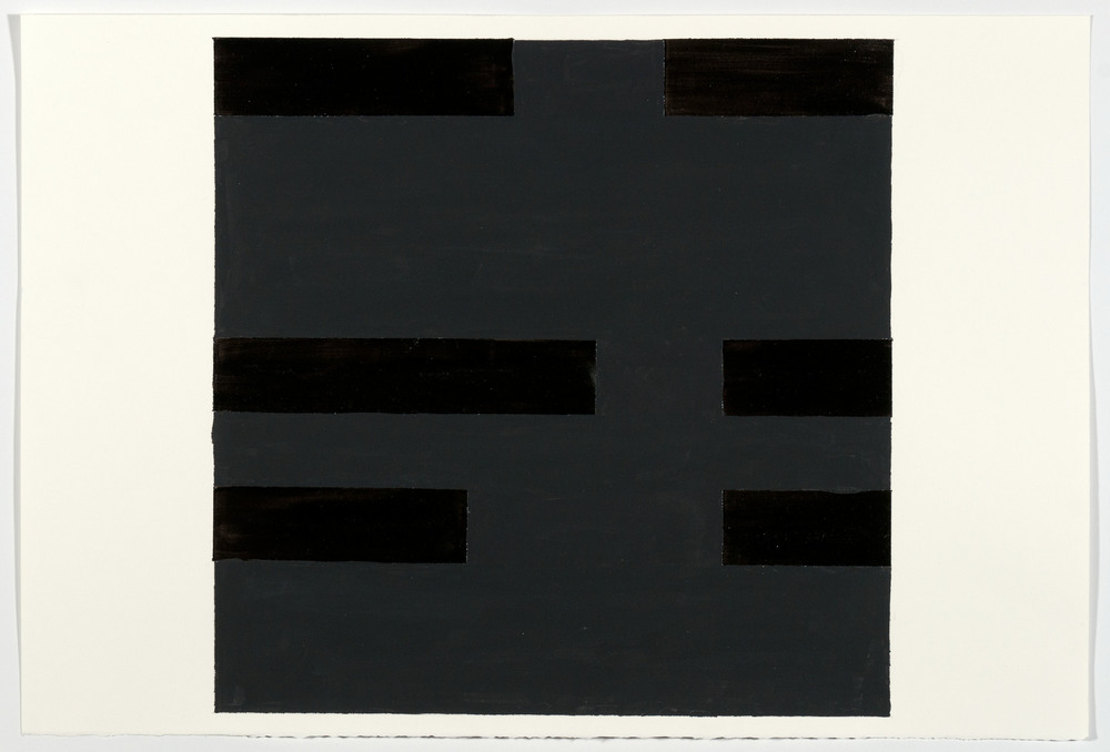 Paul Mogensen, no title, 3 rows, 2012, Gloss black acrylic & gouache on paper, 15 x 22 inches, PMO1204  3/4  Lawrence Markey Inc.