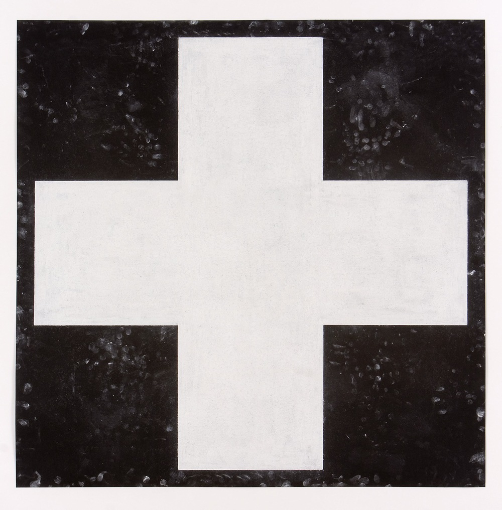 Robert Moskowitz , Red Cross (White on Black) , 1986, Pastel on paper, 39 x 39 inches, RMO8604  2/6  Lawrence Markey Inc.