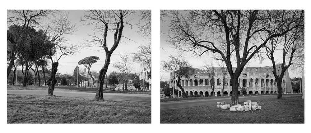 John Riddy,  Rome (Colosseum), 1999 , Silver gelatin print, diptych, each: 15 x 18 7/8 inches  7/12  Lawrence Markey Inc.