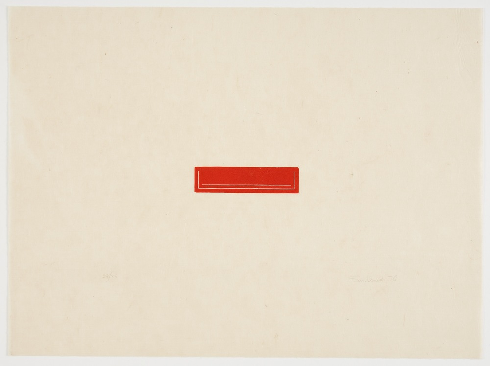 Fred Sandback, Untitled, 1976, Woodcut on Japanese paper