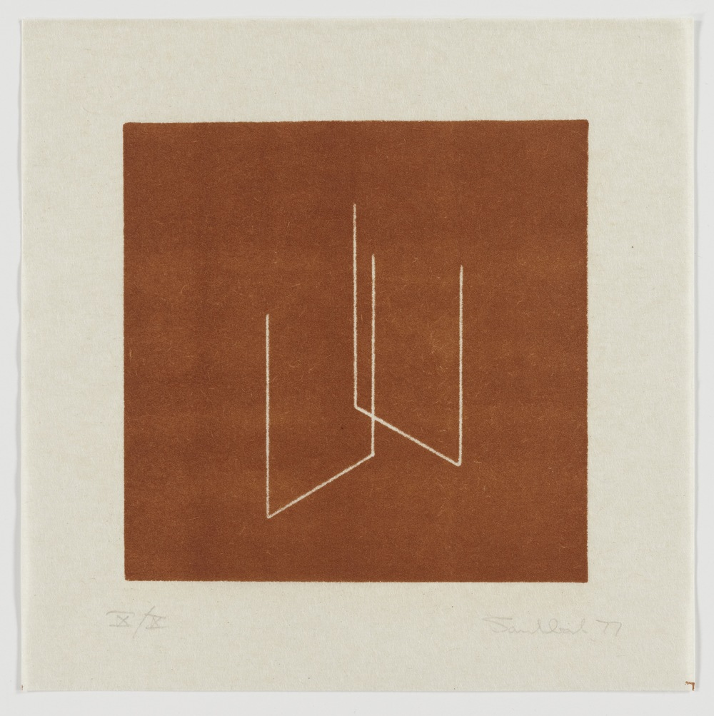 Fred Sandback, Untitled (from an untitled portfolio), 1977, Lithograph on handmade paper