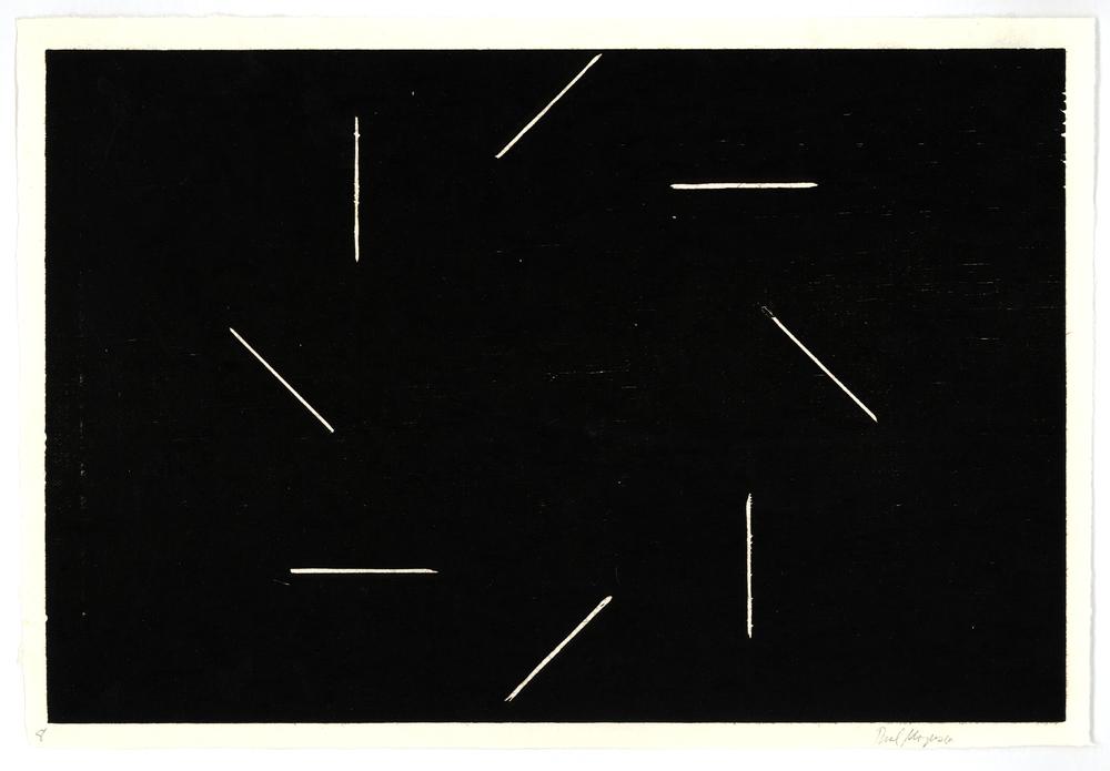 8 lines Around Center, Black,10 x 14 7/8 in.