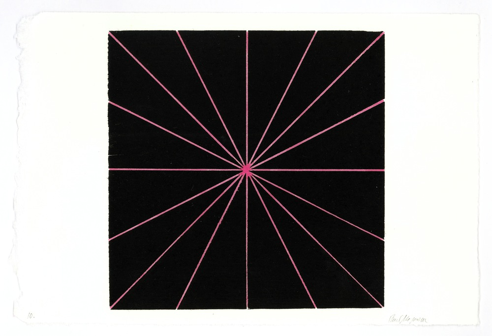 Lines to Center, Pink & Black, 10 1/4 x 15 in., Ink & diluted carmine ink