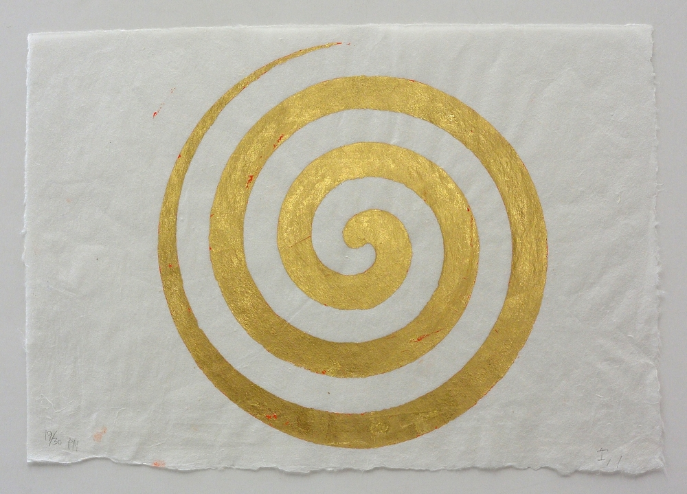 gold spiral, 9 3/4 x 14 in., Ink and gold leaf
