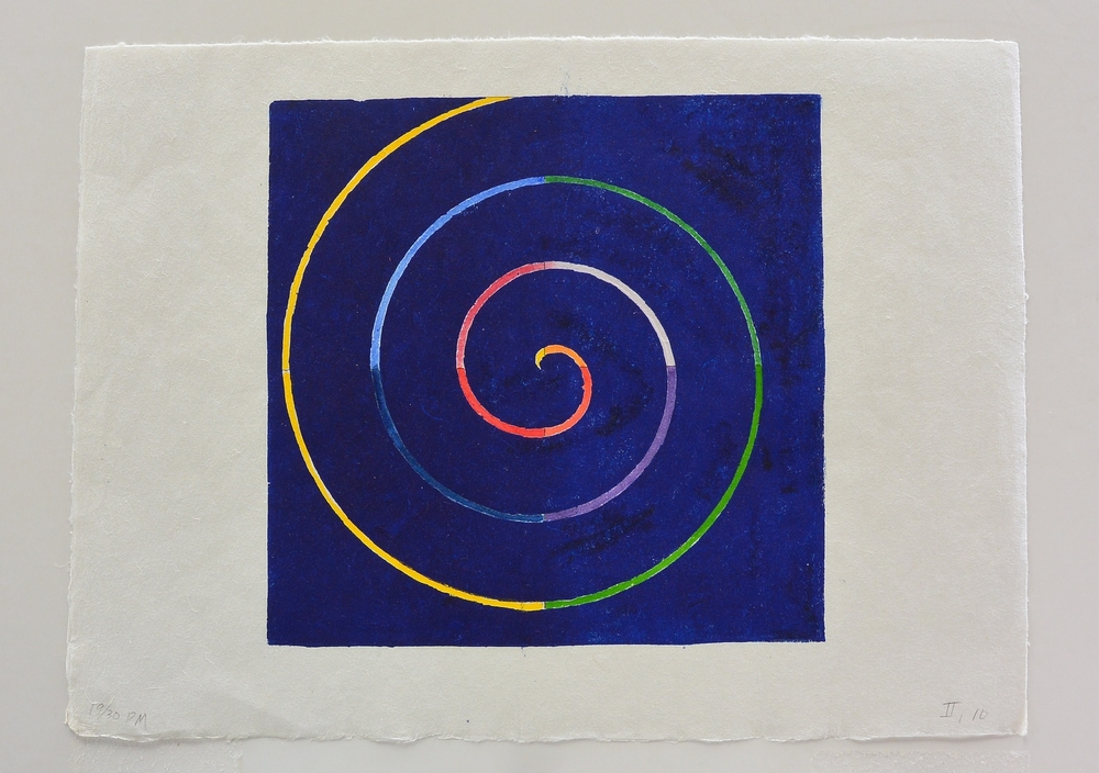 spiral on blue square, 9 1/2 x 14 1/2 in., Ink and watercolor