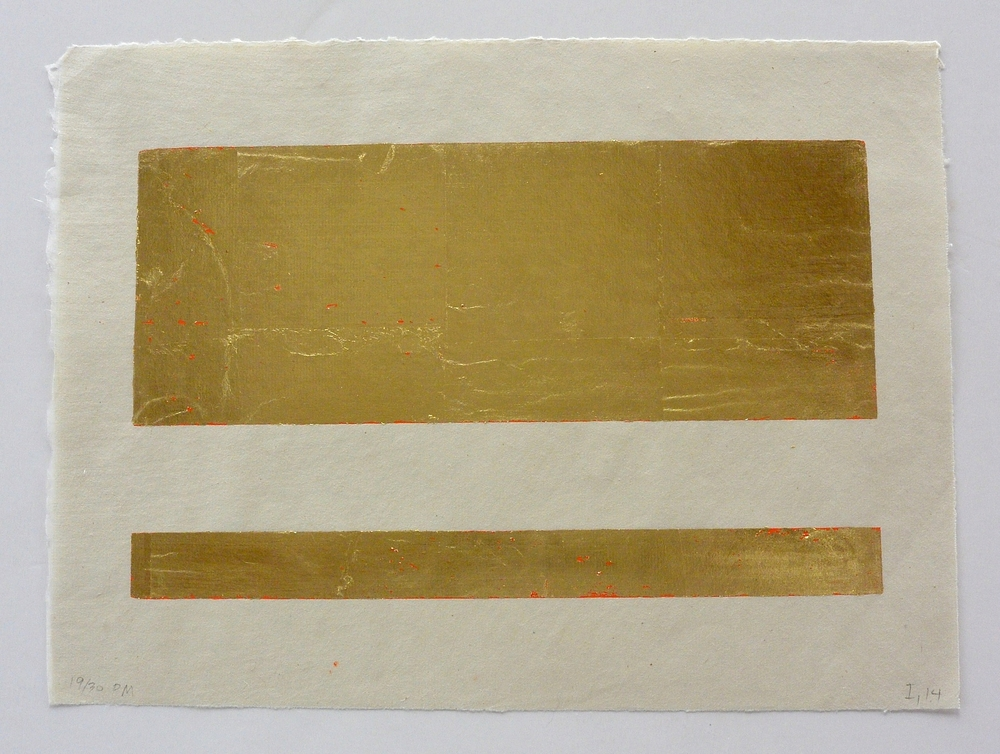 2 part gold, 9 1/2 x 13 1/4 in., Ink and gold leaf