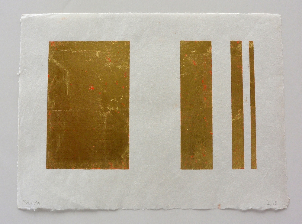 4 part gold, 9 3/8 x 13 1/4 in., Ink and gold leaf