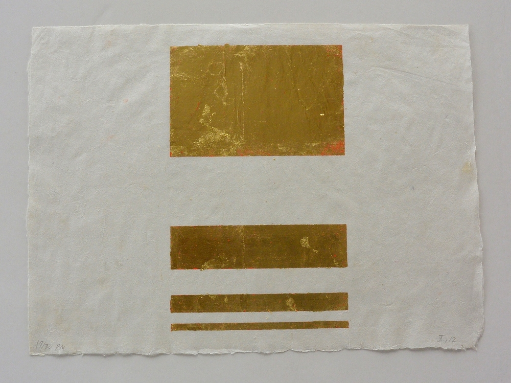 4 part pale gold, 10 1/2 x 13 3/4 in., Ink and gold leaf