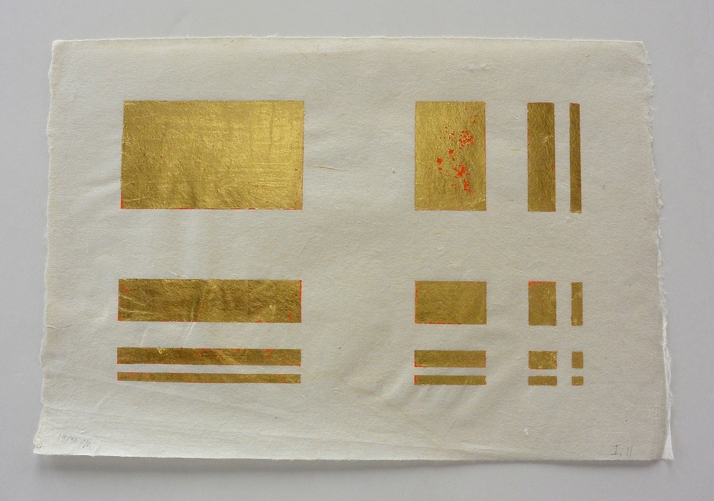 16 part gold, 10 1/8 x 15 in., Ink and gold leaf