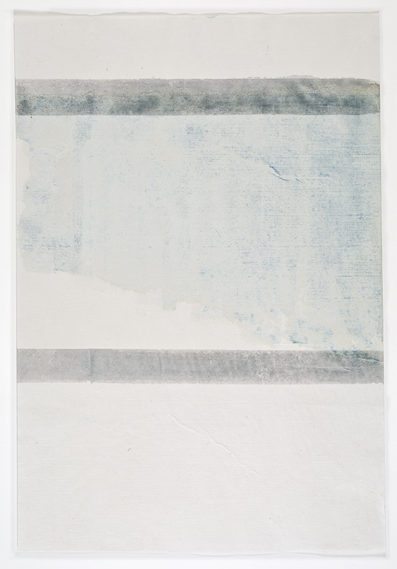John Zurier,  Héraðsdalur (Summer) 4 , 2014, Watercolor on Korean paper, 13 3/4 x 9 3/8 inches, JZU1414  5/6  Lawrence Markey Inc.