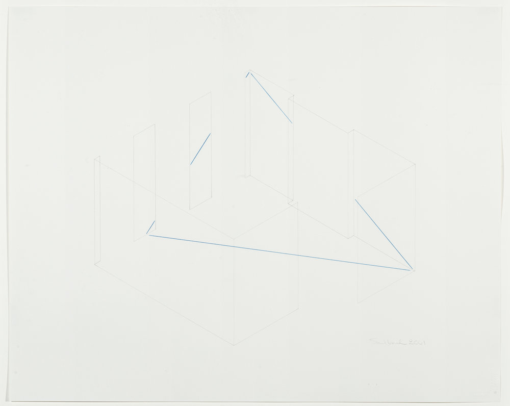 Fred Sandback, Untitled, 2001, Pencil & colored pencil on paper, 18 7/8 x 23 1/2 inches, FSA0103  Lawrence Markey Inc.  1/11