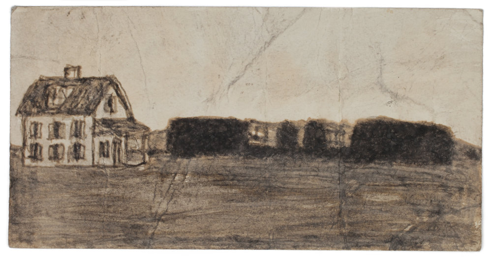 James Castle, Untitled (two sided drawing), Undated, Soot on paper, 3 x 5 3/4 inches, CAS12-0101  Lawrence Markey Inc.  6/6