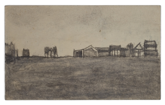 James Castle, Untitled (two sided drawing), Undated, Soot on paper, 3 x 4 7/8 inches, CAS11-0226  Lawrence Markey Inc.  3/6