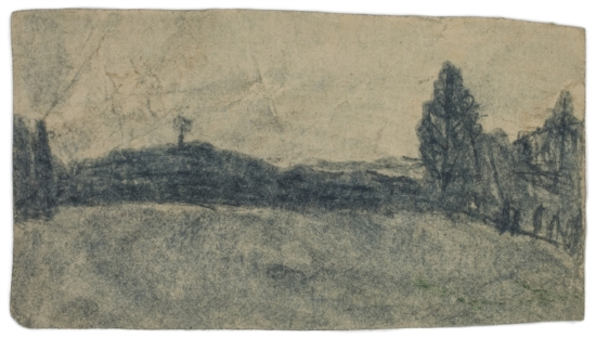 James Castle, Untitled (two sided drawing), Undated, Soot on paper, 3 1/8 x 5 5/8 inches, CAS12-0026  Lawrence Markey Inc.  5/6