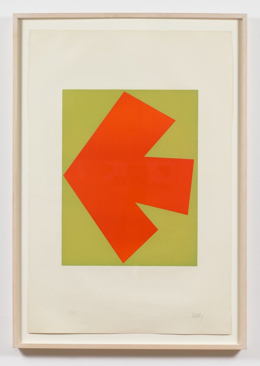 Ellsworth Kelly,  Orange Over Green (Orange sur Vert), from the Suite of Twenty-Seven Color Lithographs , 1964, Lithograph in colors on Rives BFK paper, with full margins, Edition of 75, Sheet: 35 x 23 5/8 inches, Plate: 20 3/8 x 15 5/8 inches, EKE6401  3/12  Lawrence Markey Inc.