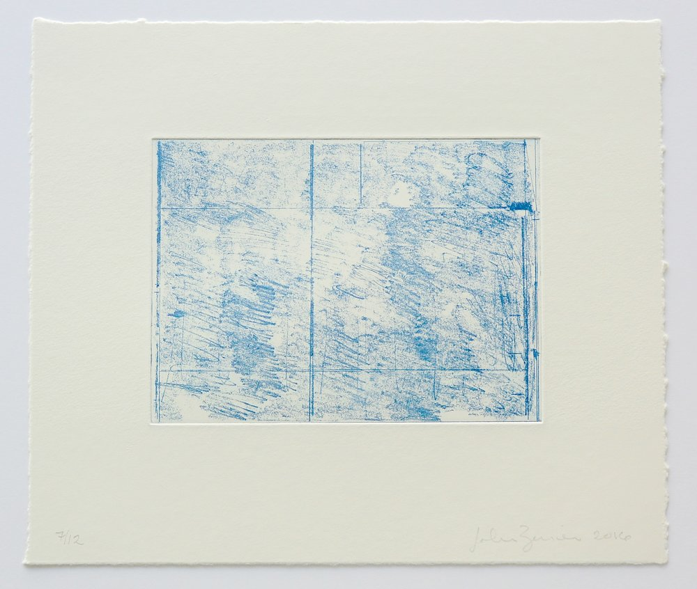 John Zurier,  Blue Horizontal , 2016, Soft ground etching, ed.12, sheet: 11 x 12 3/4 inches; image: 5 3/4 x 7 3/4 inches, JZU1608  10/12  Lawrence Markey Inc.