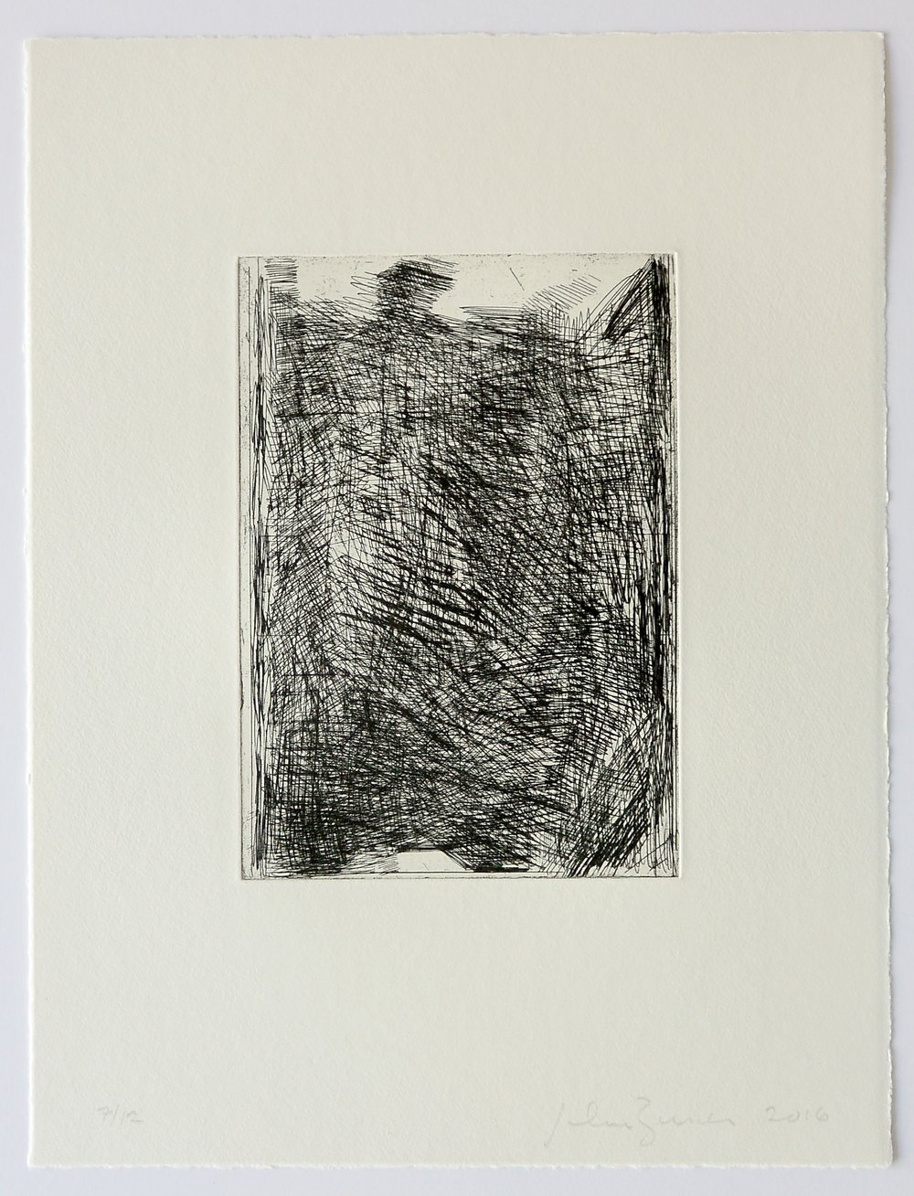 John Zurier,  Black Hardground  2016, Soft ground etching, ed.12, sheet: 13 7/8 x 10 3/4 inches; image: 7 5/8 x 5 3/4 inches, JZU1609  11/12  Lawrence Markey Inc.