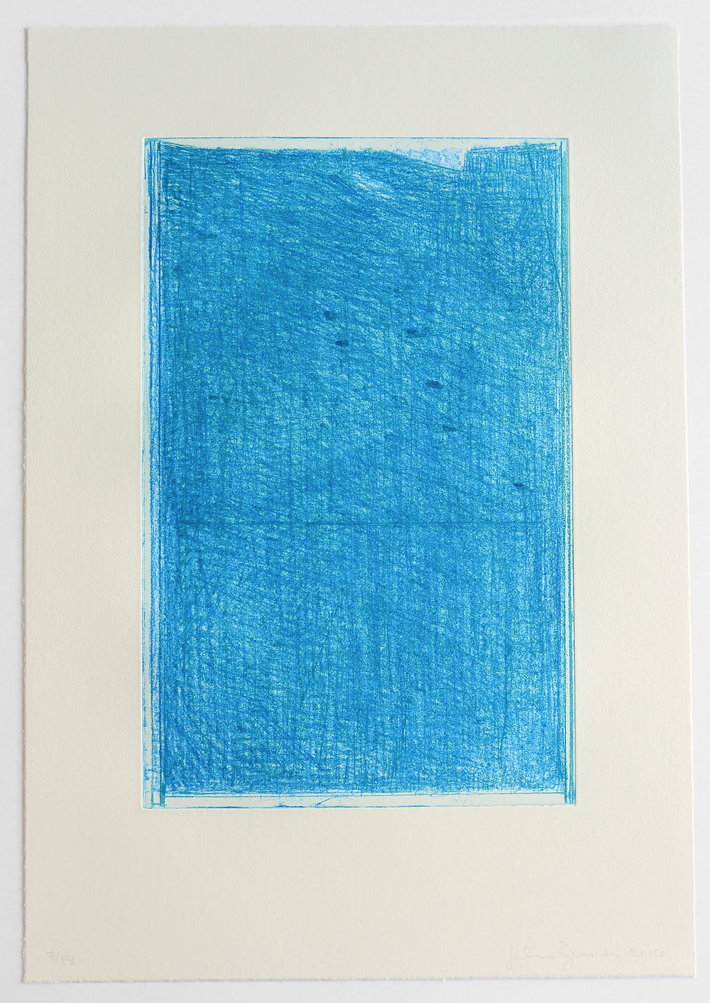 John Zurier,  Blue-green Softground,  2016, Soft ground etching, ed.18, sheet: 22 1/2 x 15 5/8 inches; image: 15 3/4 x 10 1/8 inches, JZU161  12/12  Lawrence Markey Inc.