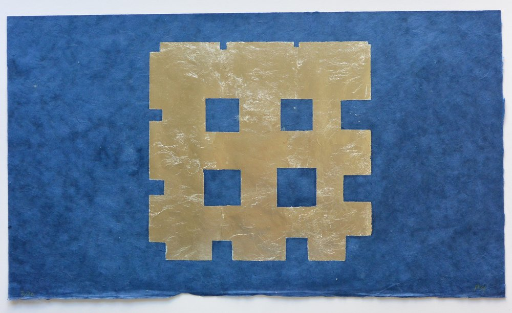 Paul Mogensen, Untitled, 2016, Woodblock print; Silver leaf on ultra blue Thai rice paper, ed. 2/20, 14 x 24 1/2 inches, PMO1602  Lawrence Markey Inc.  9/9