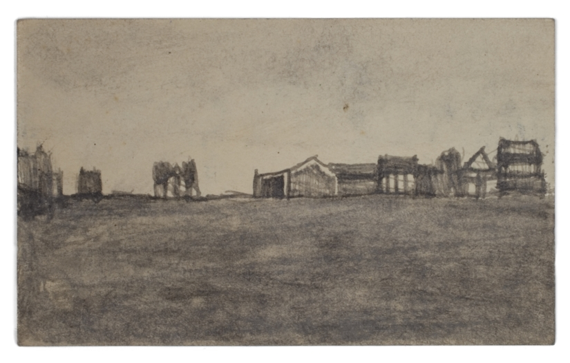 James Castle, Untitled (two sided drawing), Undated, Soot on paper, 3 x 4 7/8 inches, CAS11-0226 (recto)  Lawrence Markey Inc.  3/4